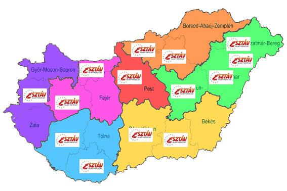 SZTÁV Felnőttképző telephelyek - térkép